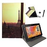 Aldi Medion Lifetab S10346 / S10333 Eifelturm Tablet Hülle Tasche mit Aufstellfunktion - Sonnenuntergang Paris 10.1 zoll