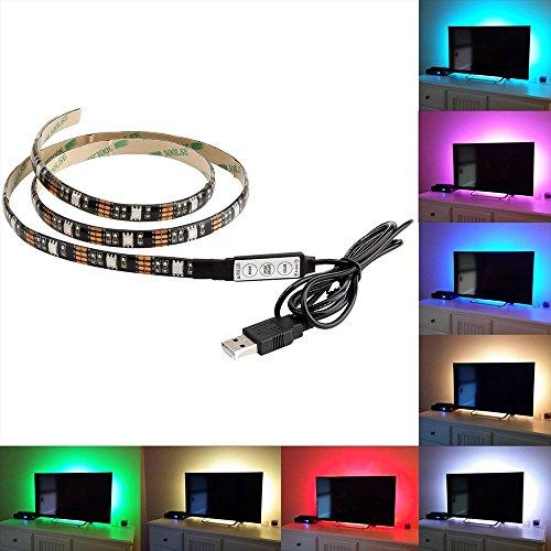 19 Flachbild-fernseher (Skitic 200CM 5V LED Lichtleisten TV Hintergrundbeleuchtung USB LED Lichtband RGB LED Dekor Streifen Fernsehrückseiten Beleuchtung für Flachen Schirm, Wand-Einfassungs Film Theater, HDTV, PC Monitor)