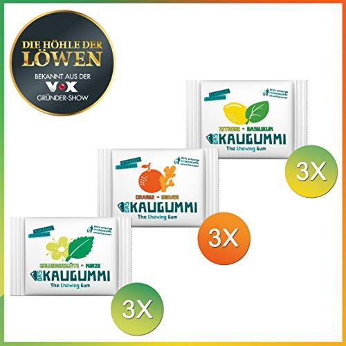 Preisvergleich Produktbild Das Kaugummi Probierset 3 Sorten je 3 Tüten mit jeweils 11 Dragees ( Holunderblüte Minze,  Orange Ingwer,  Zitrone Basilikum ) Bekannt aus der Höhle der Löwen