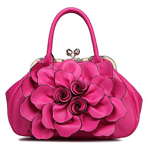 Mode Handtasche Rosen Tote Blumen Griff Taschen Stilvoll Schultertasche rose red