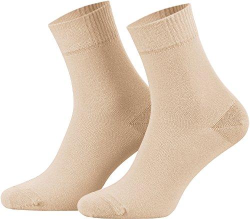 6 Paar Damen Socken mit Komfortbund | Quarter Socken uni aus Baumwolle | Damensöckchen dünn mit Gummibund | beige 35-38