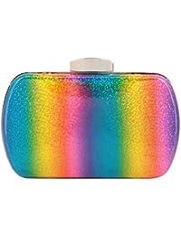 Naimo Womens Rainbow Hardcase Evening Handbag Clutch Bag