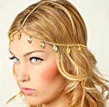 Deniferymakeup - Cadena de boda bohemia bohemia con diseño de hojas de boda y cabeza griega, accesorio para el pelo