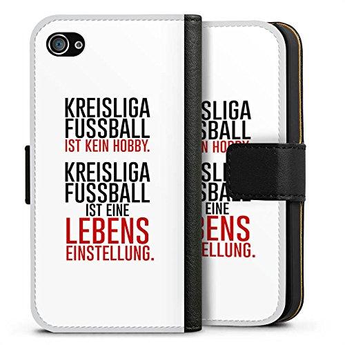 Apple iPhone X Silikon Hülle Case Schutzhülle Kreisliga Lebenseinstellung Fußball Sideflip Tasche schwarz