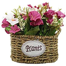 Cesta de flores de seda artificial, arreglos florales, centros de mesa de flores falsas
