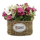 Especificaciones: Material: flores de seda + cesta hecha a mano. Tamaño total: aproximadamente 24 x 22 x 20 cm. Decoración perfecta. Flores y hojas artificiales, color fresco, las flores nunca se caen ni se caen, se ven hermosas, pétalos suav...