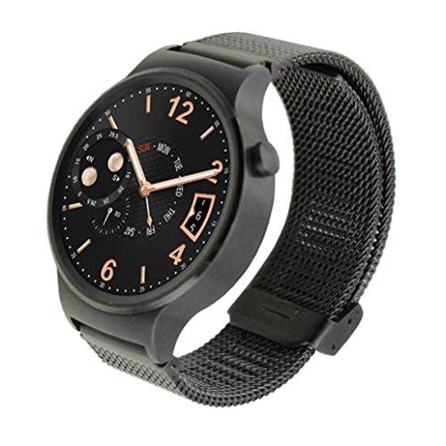 Transer® Huawei Watch 42MM Ersatz Uhrenarmbänder Luxus Fashion Edelstahlgewebe Uhrenarmband Langlebig Bügel Armband für Uhren Uhr Länge: 170MM Breite: 18MM Schwarz, Silber, Gold (Schwarz)