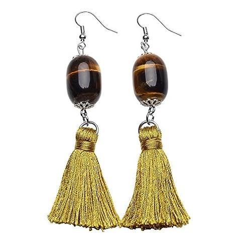 QGEM 1 Pair Tassel Earrings Yellow Tiger's Eye Oval Bead Women Jewelry