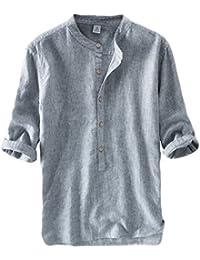PengGengA Herren Halber Ärmel Leinen Hemd Streifen Leinen T Shirt Freizeit… b634dcccad