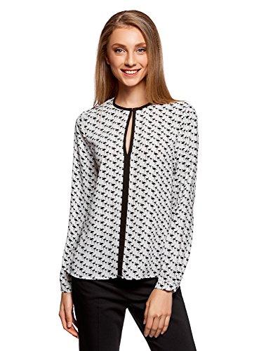 oodji Ultra Mujer Blusa de Tejido Fluido con Acabado en Contraste, Blanco, ES 40 / M