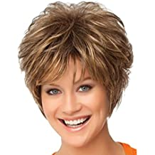 Peluca de pelo para mujer, color marrón, de Starall, pelo rizado natural, peluca para cosplay