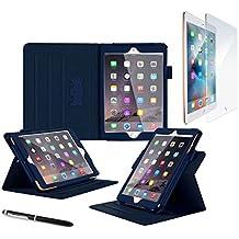 iPad Mini 4Funda, rooCASE Dual View Pro–Soporte de iPad Mini 4multi-viewing Folio Case Smart Cover para Apple iPad Mini 4(2015) .Tempered Glass + Navy iPad Mini 4 (2015)