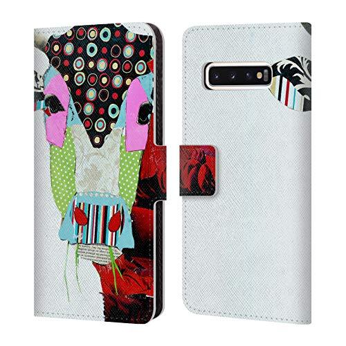 Head Case Designs Offizielle Michel Keck Kuh 2 Tiere Leder Brieftaschen Huelle kompatibel mit Samsung Galaxy S10 -
