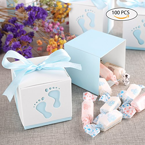 YISSVIC 100 Pcs Boîte à Dragées Contenant Dragées Ballotin avec la Forme de Petit Pas Mignon pour Marriage Baptême de Bébé Anniversaire Blue