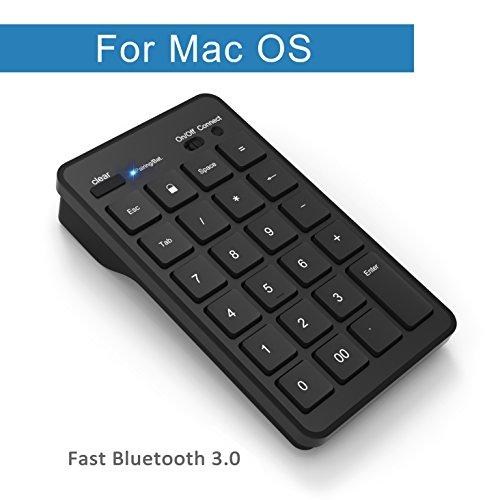 Cateck Bluetooth 23 Tasten kabelloser, externer Ziffernblock für iMac, Macbook, Macbook Pro, Laptops mit dem Betriebssystem OS X in Schwarz.