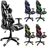 Diablo X-One Sedia da Gaming, Sedia Scrivania, Sedi di gioco Racing Gaming Chair (nero-bianco)