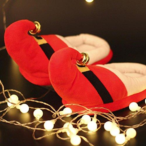 Longra Tessuto in cotone unisex di colore solido Natale Piccola decorazione a campana Pattini a pelo in cotone imbottiti Rosso