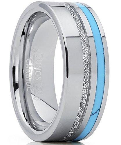 8MM Herren Wolframcarbid Ring mit Türkis und Meteorit Einlage Verlobungsringe Trauringe Hochzeitsband Bequemlichkeit Passen Größe 67