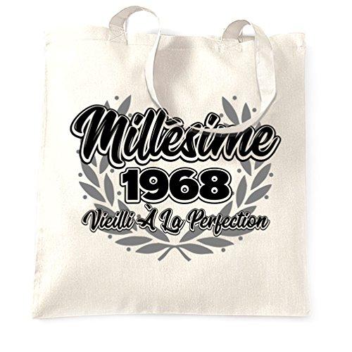 Joyeux Anniversaire Sacchetto Di Tote Millésime 1968 Vieilli à La Perfezione White