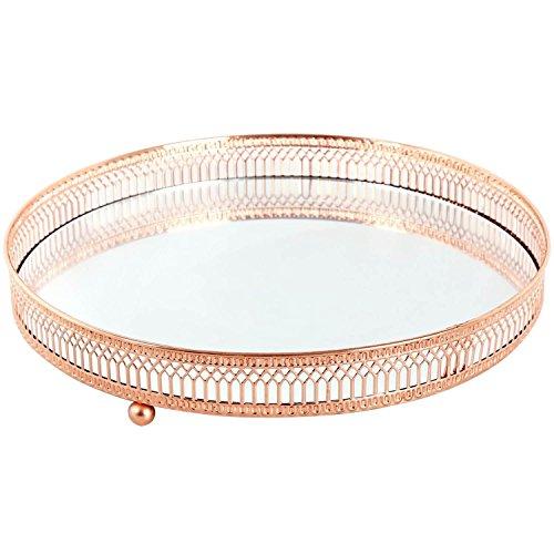 Spiegelteller mit Einfassung aus Kupfergitter, Kerzen-/ Teelichthalter, metall, Large