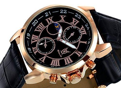 Konigswerk Herrenuhr schwarz Leder Armband Gehäuse Rotgold Ziffernblatt Multifunktion Tag Datum Sonne Mond AQ202469G