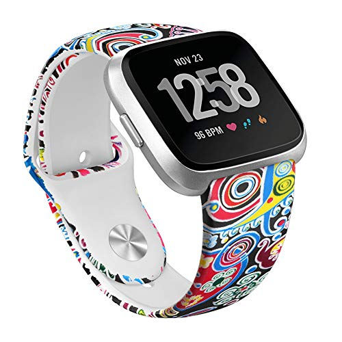 OenFoto Sport Armband kompatibel mit Fit bit Versa & Fit bit Versa Lite Edition, weiches Silikon-Armband Ersatzarmband-Armband für Fit bit Versa Smart Watch, Meeresfisch-Muster L