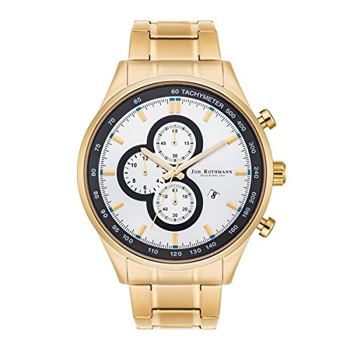 Joh. ROTHMANN Gandolf Men's Chronograph Watch Gold Strap Stainless Steel Waterproof 5 ATM