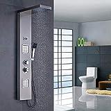 AuraLum Edelstahl Duschpaneel mit Thermostat, 3 Funktionen Regendusche Duschsystem mit 2 Massagendüsen, Handbrause, Wassertemperaturanzeige