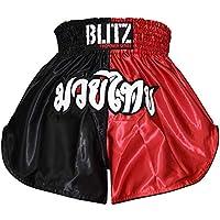 Blitz Muay Thai Pantalones Cortos, Hombre, Rojo/Negro, Large