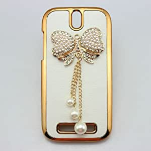 YEAH bling 3D leather case gold bow diamond rhinestone back cover for htc one sv st lte