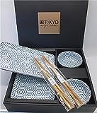 Tokyo Design Studio, Nippon Blue, Sushi Set, 6teilig. 2 Sushi Platten, 2 Saucenschalen, 2 Paar Holz Chopsticks. Sushiteller Porzellan Set.