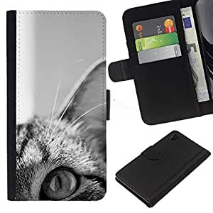 Black White Shorthair American Wirehair - Flip Credit Card Slots PU-Leder-Mappen-Beutel Haut-Kasten-Abdeckung Hülle Case Sony Xperia Z4v / Sony Xperia Z4 / E6508