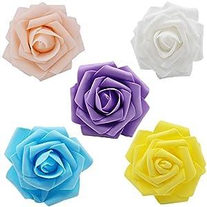 Noex Direct Rosas artificiales de flores, rosas de espuma de 7,62 cm para ramos de bricolaje, boda, fiesta, hotel, restaurante, patio, decoración 30 piezas amarillo