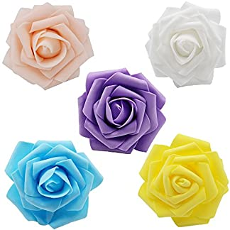 Noex Direct Rosas artificiales de flores, rosas de espuma de 7,62 cm para ramos de bricolaje, boda, fiesta, hotel, restaurante, patio, decoración 30 piezas