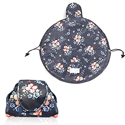 Lazy Drawstring Makeup Bag Portable Large Travel Cosmetic Bag Pouch Travel Makeup Pouch Storage Organiser for Women Girl