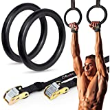 Shora Gymnastics Rings Set: 2 Gym Plastic Workout Olympic Fitness Rings With Adjustable Straps For Muscle, Core, And Strength Training (Black)