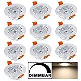 Hengda® 10 pcs 3W LED Spot Dimmbar Einbauleuchten Deckenstrahler Set warmweiß 235lm AC85-265V