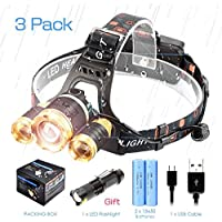 Head Torch, Wenscha USB Rechargeable LED Headlamp, Waterproof Lightweight Hand-Free with 3 CREE T6 LED, 3500 Lumens Super Bright Zoomable 4 Modes Headlight for Outdoor Activities - Camping, Hiking, Fishing, Biking, Climbing - GOLD