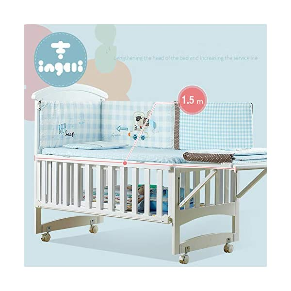 KLI Newborn Infant Crib Solid Harmless Paint Wood Baby Cradle Rocking Bed With Mattress,120 * 68 * 100Cm KLI Shipping list : crib,mat Size:120*68*100cm. Natural pine wood, harmless paint, polished and smooth, environmental wood, good for your baby 3 grade height adjustment: grade 1 (52cm from the floor)can be used for baby in 0-6 month, convenient to take out baby; grade 2 (38cm from the floor) for baby in 6-12 months and can stand independently;grade 3 (22cm from the floor) for baby in 1-3 years old. 7