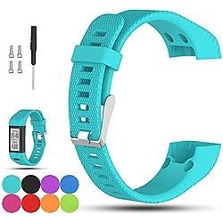 Para Garmin VivoSmart HR + de repuesto reloj banda correa–ifeeker accesorios ajustable suave silicona muñeca banda reloj de pulsera con instalación poste de destornilladores y adaptadores para Garmin Vivosmart HR + GPS Fitness actividad Tracker (no para VivoSmart HR), Azul verdoso