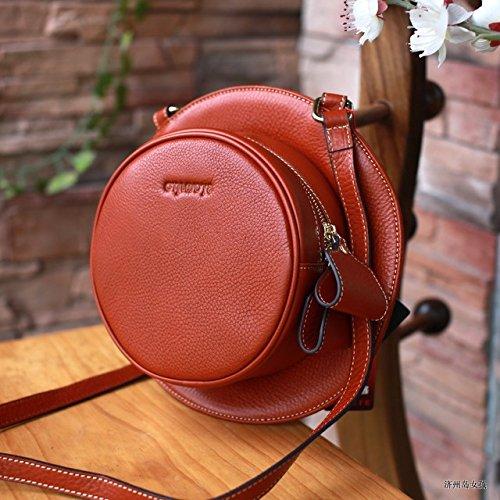 lpkone-Sacs à main épaule rétro en cuir artisanal fashion ladies Messenger Bag, rouge Brown