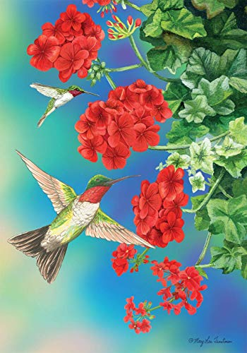 ASKYE Hummingbirds Floral Spring House Flag Geraniums for Party Outdoor Home Decor(Size: 28inch W X 40inch H) -
