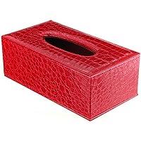 Caja de panuelos - SODIAL(R)Caja de panuelos rectangula de cuero de PU cubierta de caja de sostenedor de panuelos durable para casa y coche (grano de cocodrilo rojo)
