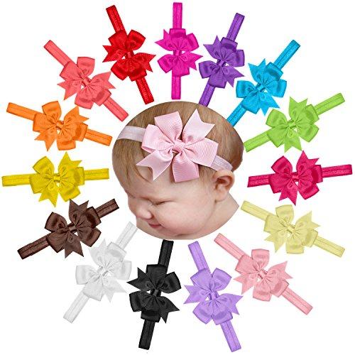 15 Pièces/Lot Bandeau Élastique Nœud De Couleur Pure pour Bébé Fille Enfant Photographie (Couleur Pure) (1)