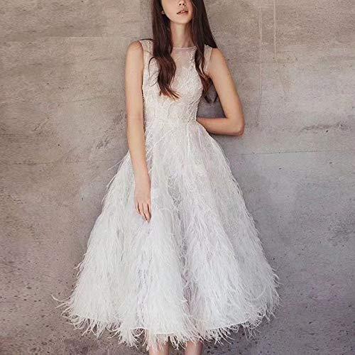 QUNLIANYI Abendkleid Abiballkleid Elegante Patchwork Feder Midi Kleid Frauen Sexy O-Ausschnitt Ärmellose Ball Kleid Stickerei Perlen Abend Party Kleider M Weiß -