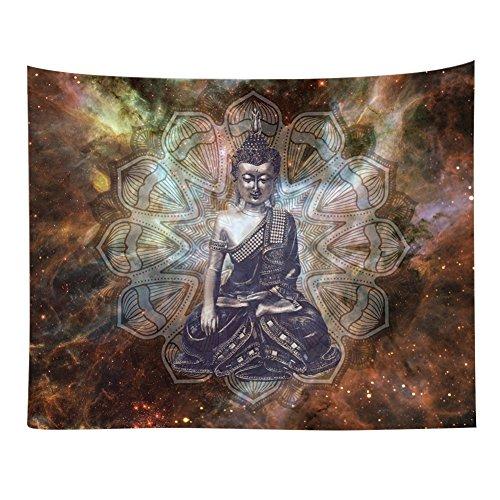 Etophigh Wandteppich, Buddhismus Motiv, Sitzende Buddha Figur, Wandtuch, Tapisserie, Tagesdecke, Picknick Matte, Strandtuch, 150 x 130 cm, aus 100% Polyester