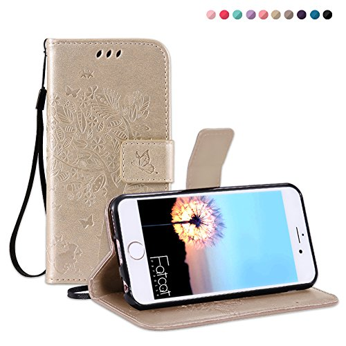 Fatcatparadise iPhone 6S Plus/iPhone 6 Plus Case [With Tempered Glass Screen Protector], Case, Pressed Tree Cat Butterfly Pattern PU Leather Cover For Apple iPhone 6S Plus/iPhone 6 Plus (Gold)