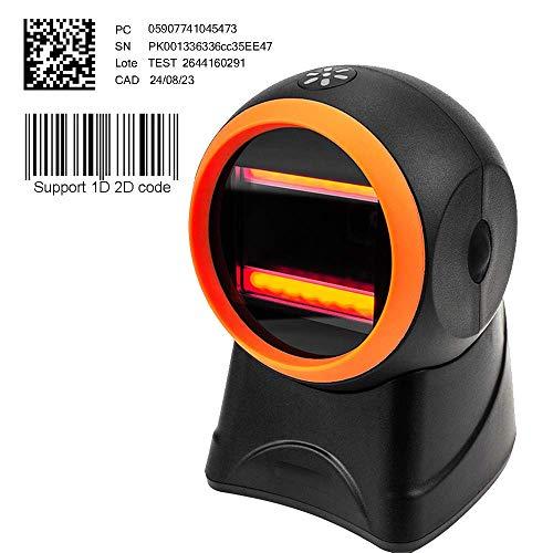 Barcodescanner Barcodeleser MUNBYN 1D Plug & Play USB Automatischer Omnidirektionaler Barcodescanner CCD Desktop Justierbarer Kopfwinkel QR Scanner für Linux Mac und Windows PC