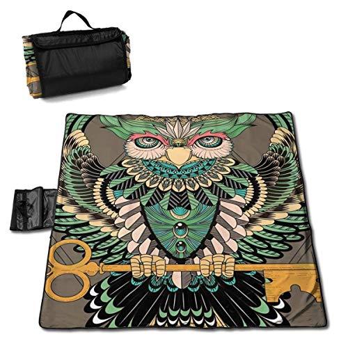 MZZhuBao Mysterious Ethnic Owl with Key Oversized Foldable Picnic Blanket 57
