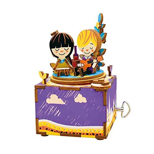 TYZY Früherziehung Spielzeug 3D Puzzle manuelle Spieluhr aus Holz Modell Kreative Geschenke Einrichtungsartikel Optional Design Geeignet für Kinder 23,5 * 15,6 * 6,55 cm,G